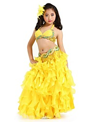 Kids' Dancewear Outfits Children's Performance Chiffon Paillettes 3 Pieces Belly Dance