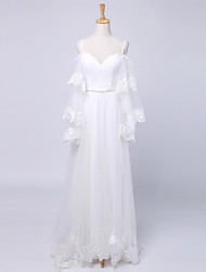 Sheath / Column Wedding Dress Court Train Spaghetti Straps Satin / Tulle with Pattern