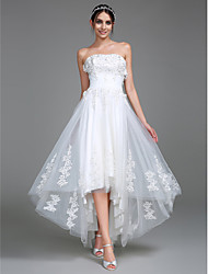 Lanting Bride® A-line Wedding Dress Asymmetrical Strapless Tulle with Appliques / Ruche
