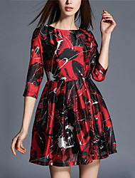 Women's Going out Sophisticated A Line Dress,Print Round Neck Mini ¾ Sleeve Red Polyester Spring