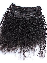 "6A 3B 3C Kinky Curly Clip In Human Hair Extensions 7PCS Natural Black Brazilian Virgin Human Hair 12""-26"" Stocks"