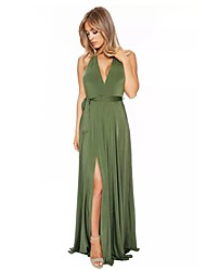 Women's Sexy V Neck Halter Backless Slim Split Solid Party Cocktail Club Maxi Dress