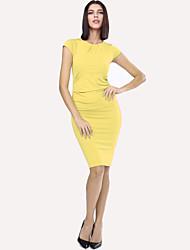Women's Sexy Bodycon Party Inelastic Short Sleeve Knee-length Dress (Knitwear)