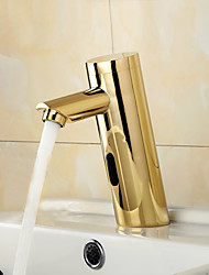 Contemporary Ti-PVD /Gold Finish  Bathroom Sink Faucet  with Automatic Sensor Hand Free Faucet(Sensor Tap)