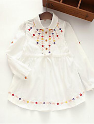 Girl's Casual/Daily Floral Dress,Cotton Spring / Fall Blue / White