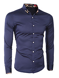 Men's Print Casual / Formal Shirt,Cotton Long Sleeve Blue / White