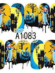 1pcs Nail Art Halloween Sticker Interesting Pumpkin Haunted House Girl DIY Nail Art Decoration A1083
