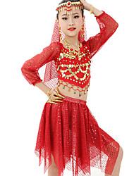 Belly Dance Outfits Children's Performance Chiffon Satin / Polyester Gold Coins / Ruched 6 Pieces Fuchsia / Light Blue