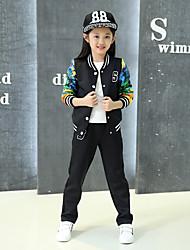 Girl's Sports Print Clothing Set,Rayon Winter / Spring / Fall Black / White