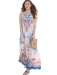 Women's Beach Sophisticated Chiffon Dress,Print Halter Maxi Sleeveless White Polyester Summer