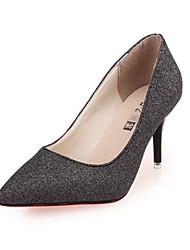 Damen-High Heels-Lässig-PU-Stöckelabsatz-Absätze-Schwarz / Gold