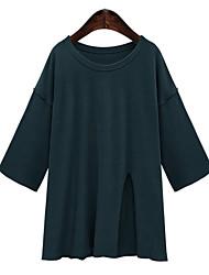 Tee-shirt Femme,Couleur Pleine Décontracté / Quotidien Grandes Tailles simple Printemps Automne Manches Longues Col ArrondiBleu Rouge