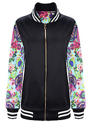 Women's Going out Street chic Fall Jackets,Floral Stand Long Sleeve Black Polyester Medium