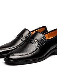 Herren-Flache Schuhe-Büro Lässig-Leder-Flacher AbsatzSchwarz