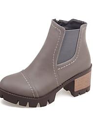 Women's Boots Fall / Winter Fashion Boots Leatherette Dress / Casual Chunky Heel Zipper Black / Gray / Burgundy Walking
