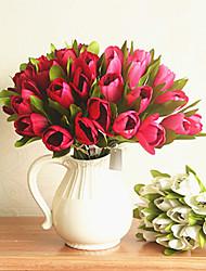1pc 1 Ramo Poliéster / Plástico Tulipas Flor de Mesa Flores artificiais 15.74inch/40CM-21.65inch/55CM