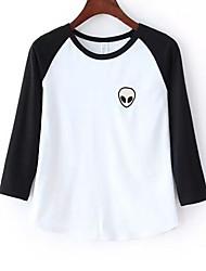 Damen Druck Sexy / Street Schick Lässig/Alltäglich T-shirt,Rundhalsausschnitt Sommer / Herbst ¾-Arm Rot / Schwarz / GrauBaumwolle /