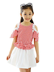 Girl's Casual/Daily Striped Dress,Cotton Summer Black / Red