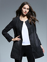 Women's Casual/Daily Street chic Spring / Fall Denim Jackets,Solid Round Neck Long Sleeve Black Cotton Medium