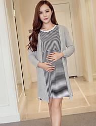 Maternidad Camiseta Vestido Casual/Diario Simple,Un Color / A Rayas Escote Redondo Sobre la rodilla Manga Larga Blanco / GrisAlgodón /