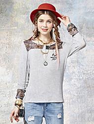 Tee-shirt Aux femmes,Imprimé Sortie simple Eté Manches Longues Col Arrondi Gris Rayonne / Spandex Fin