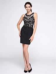 TS Couture Cocktail Party Prom Dress - Little Black Dress Sheath / Column Jewel Short / Mini Chiffon Tulle with Appliques Sequins