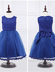 Ball Gown Tea-length Flower Girl Dress - Organza Satin Jewel with Bow(s) Lace