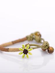 Pulseiras Pulseiras em Correntes e Ligações Cerâmica Formato de Flor Adorável Diário Jóias Dom Amarelo / Verde / Púrpura,1pç