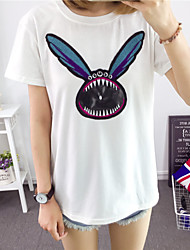 Damen Druck Street Schick Lässig/Alltäglich T-shirt,Rundhalsausschnitt Sommer Kurzarm Weiß Baumwolle Mittel