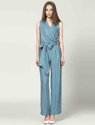 Boutique S Women's Solid Blue / Green / Orange Jumpsuits,Street chic V Neck Sleeveless