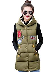 Women's Print Large Size Slim Down Coat,Street chic Hooded Sleeveless