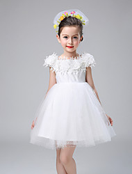 A-line Knee-length Flower Girl Dress - Cotton / Satin / Tulle Short Sleeve Off-the-shoulder with Lace