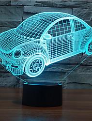 битлз автомобиля касания затемнением 3D LED ночь свет 7colorful украшения атмосфера новизны светильника освещения свет рождества