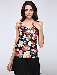 Women's Floral Blue / White / Beige / Black / Yellow / Multi-color Vest , U Neck Sleeveless