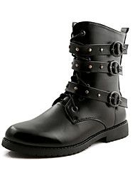 Men's Boots Spring / Fall / Winter Others Leather Casual Flat Heel Lace-up Black Others