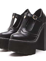 Homme-Décontracté-Noir / Blanc-Gros Talon-Talons-Chaussures à Talons-Similicuir