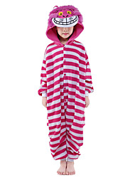 Kigurumi Pajamas New Cosplay® Cat Leotard/Onesie Festival/Holiday Animal Sleepwear Halloween Pink Patchwork Velvet Mink Kigurumi For Kid