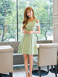 Women's Going out Simple A Line Dress,Solid V Neck Above Knee Short Sleeve Green Polyester Summer