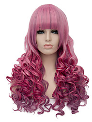 European Vogue Long Sythetic Ombre Pink Neat Bang Curly Party Wig For Women