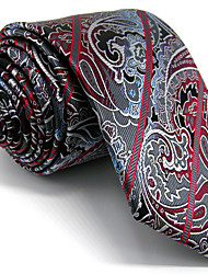 Men's Dark Gray Paisley Tie 100% Silk Business Necktie Dress Casual Long