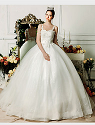 Ball Gown Wedding Dress Court Train Spaghetti Straps Organza with Appliques / Beading