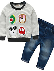 Menino de Jeans / Conjunto,Casual Animal Algodão Primavera / Outono Cinza