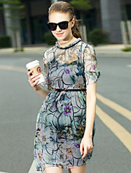 Women's Going out Cute Sheath DressFloral Round Neck Above Knee Short Sleeve Gray Silk