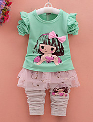 Girl's Cotton Spring/Autumn Cartoon Print Long Sleeve T Shirt And Lace Bubble Skirt Pants Pantskirt Two-piece Set