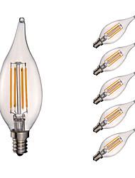 3.5 E12 Lâmpadas de Filamento de LED B 4 COB 350 lm Branco Quente Regulável / Decorativa AC 110-130 V 6 pçs