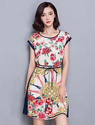Women's Plus Size Vintage Sheath Dress,Floral Round Neck Above Knee Short Sleeve Blue Silk Summer