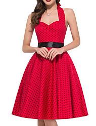 Women's Going out Vintage A Line Dress,Polka Dot Halter Knee-length Sleeveless Red Polyester Summer