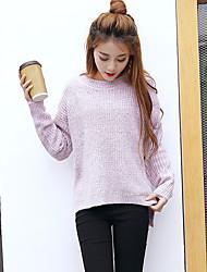Damen Standard Pullover-Lässig/Alltäglich Einfach Solide Grau / Lila Rundhalsausschnitt Langarm Baumwolle Winter Mittel
