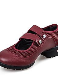 Non Customizable Women's Dance Shoes Leather / Fabric Leather / Fabric Dance Sneakers / Sneakers Flat HeelPractice /
