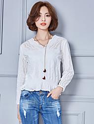 Damen Solide Einfach Lässig/Alltäglich Bluse,V-Ausschnitt Herbst / Winter Langarm Weiß Kunstseide Dünn